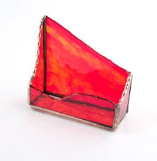 desktop business card holder red gold stained glass by nostalgianmore