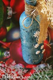 How To Decorate A Wine Bottle For Christmas Recycled wine bottle Christmas craft idea Debbiedoos 78