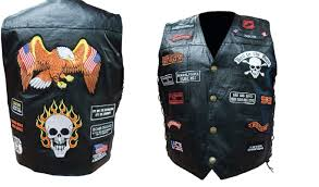 hand sewn genuine buffalo leather biker vest with 23 patches