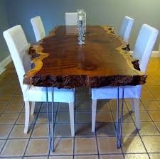 Redwood Slab Dining Table Hand Crafted Live Edge Redwood Kitchen Table By Ozma Design