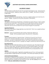 Science Report Format Eastview High School Science Department Lab Report Format