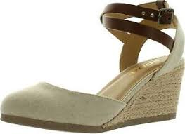 Details About Soda Womens Request Closed Toe Espadrille Wedge Sandal In Natural Tan Linen
