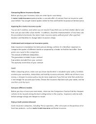 Auto Insurance Company Comparison Chart Comparing Motor Insurance Quotes