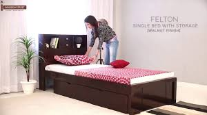 wooden furniture box beds. Single Beds : Buy Felton Bed With Storage (Walnut Finish) Online - Wooden Street Furniture Box
