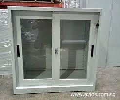 half height glass sliding door steel cupboard