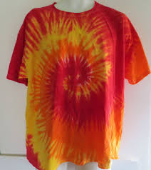 Tie Dye Shirt Swirl Design Red Yellow Orange Swirl Design Short Sleeved Tie Dye T Shirt