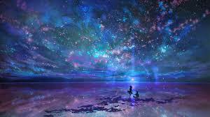 night anime scenery wallpaper. Wonderful Wallpaper Anime Couple Scenic Stars Night Sky Silhouette Inside Night Scenery Wallpaper H
