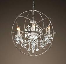stylish crystal and metal orb chandelier 3 light antique black globe flush mount chrome benita amazing