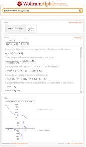 wolfram alpha shows steps for partial fractions