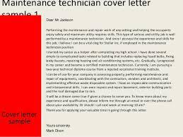 2 maintenance technician cover letter sample sample electrical technician cover letter