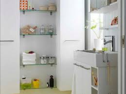 ... Small Wall Shelves For Bathroom Long Square White Wooden Drawer Smooth  Painted Thin Glass Rack Strong ...
