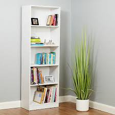 hartleys white 5 tier bookcase cabinets