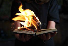 image of book burning in woman hands in dark forest stock image image of