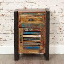 wood furniture door. Urban Chic Reclaimed Wood 1 Door Drawer Lamp Table - Bedside Baumhaus Furniture O
