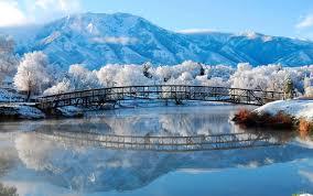 winter mountains bridge snow natural scenery Stock Photo free download