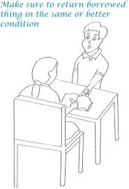 Small Picture Etiquette for kids in home coloring page 3