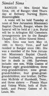 Obituary for Simiel Mae Sims (Aged 100) - Newspapers.com