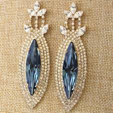 blue navy statement earrings swarovski statement chandelier earr