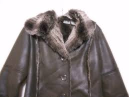 chico s brown faux leather faux fur lined size 1 jacket
