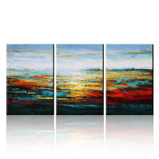 com asmork canvas oil paintings abstract wall art landscape painting home decor ready to hang 100 hand painted artwork best gift set