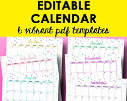 2019 Calendar Printable By Month Editable Calendar Template 2019 Printable Monthly Calendar Etsy