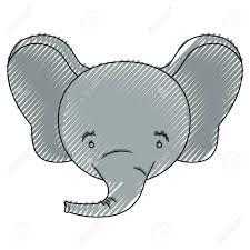 オス象動物のしあわせ度式ベクトル イラストの顔の色クレヨン シルエット
