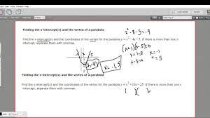 finding the x intercepts and vertex of a parabola