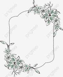 百合の花飾りフレーム ベクトル素材 点線フレーム 百合の花画像素材の