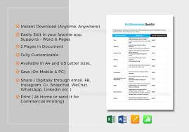 Sample Restaurant Checklist Template 14 Free Documents In Pdf Word