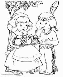 Thanksgiving Indian Girl Coloring Page With Pages Pinterest
