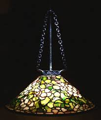 tiffany studios dogwood leaded glass patinated bronze hanging chandelier c 1910 sold for 79 800 no 1578554