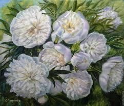 flower painting handmade livemaster handmade oil painting white peonies