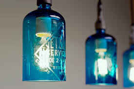 pendant light from etched glass seltzer water bottle clear or blue 2 blue pendant lighting