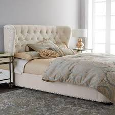Diamond Tufted Gray Wingback Archie Queen Size Bed