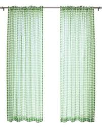 single panel curtain. Houndstooth Check Faux Sheer Linen Rod Pocket Top Single Panel Curtain, Green Curtain O