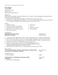 Radiologic Technologist Resume Cover Letter Samples Rad Tech Resume