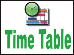 STD 3 TO 8  PERIODICAL TEST TIME - TABLE YEAR 2019 - 2020