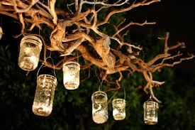 simple diy rustic glass mason jar candles with wire handle hanging trees lighting ideas