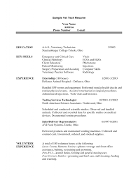 sample vet tech resume