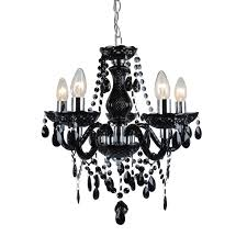 black and chrome marie therese style 5 x 40w chandelier