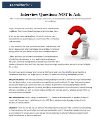 Questions To Not Ask In An Interview Interview Questions Not To Ask
