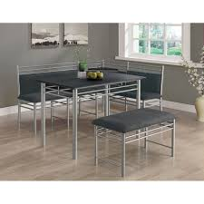 three piece dining set: black silver metal corner  piece dining set