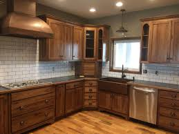 stained hickory cabinets.  Cabinets Natural Kitchen Design With Hickory Cabinets Transitional  Cabinets And White Tile Backsplash Plus Antique Copper Sink  In Stained I