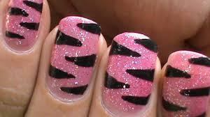 Pink Tiger nails - glitter nail polish designs animal nail art ...