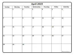 April 2019 Calendar Free Printable Monthly Calendars