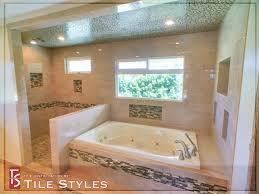 glass mosaic roman tub shower stall