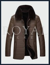 mens fur collar lambskin leather jacke