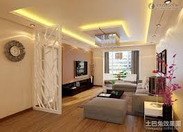 Stylish pop ceiling designs for small living room with flat screen TV and  white room divider