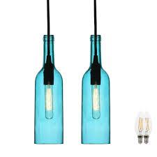 set of 2 led bottles pendant lights in blue glass bild 1