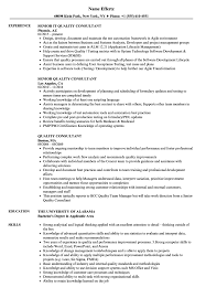 Quality Consultant Resume Samples Velvet Jobs Six Sigma Examples